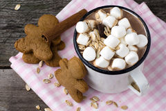 Hot chocolate with marshmallows and cookies Royalty Free Stock Photo