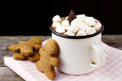 Hot chocolate with marshmallows and cookies Royalty Free Stock Photography