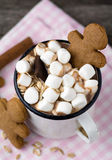 Hot chocolate with marshmallows and cookies Stock Photos