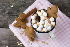 Hot chocolate with marshmallows and cookies Stock Images