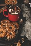 Hot chocolate with marshmallows and cookies with nuts, rustic scene. Dark food photo.  royalty free stock images
