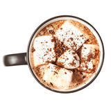 Hot chocolate with marshmallows in a cup isolated on white back Stock Photo