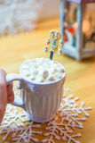 Hot chocolate with marshmallows and cute tea spoon Royalty Free Stock Photos