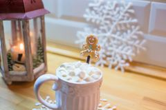 Hot chocolate with marshmallows and cute tea spoon Royalty Free Stock Photography