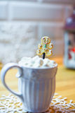 Hot chocolate with marshmallows and cute tea spoon Royalty Free Stock Image