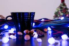 Hot Chocolate with Marshmallows Christmas Display. Hot Chocolate with Marshmallows and Decorations Stock Photos