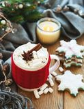 Hot chocolate with marshmallows. And gingerbread cookie on a old wooden table stock images