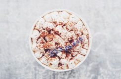 Hot chocolate with marshmallows and lavender at marble table Royalty Free Stock Images