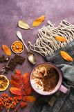 Hot chocolate with marshmallows, leaves, rowan, scarf, pieces of chocolate, orange on a rustic background. Top view, copy space. A stock images
