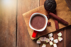 Hot chocolate with marshmallows on old wood background Royalty Free Stock Images