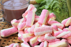 Hot chocolate and marshmallows pink tuna sandwich. Stock Photos