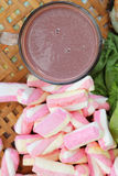 Hot chocolate and marshmallows pink tuna sandwich. Stock Photo