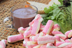 Hot chocolate and marshmallows pink tuna sandwich. Royalty Free Stock Image
