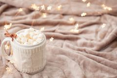 Hot chocolate with marshmallows on soft plaid background with Ch Stock Image