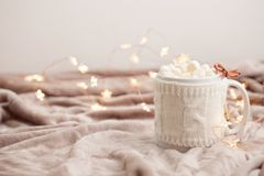Hot chocolate with marshmallows on soft plaid background with Ch Royalty Free Stock Images