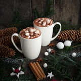 Hot chocolate with marshmallows spices on the old wooden background. Coffee, cocoa, cinnamon, star anise, cozy and christmas tree Royalty Free Stock Photography