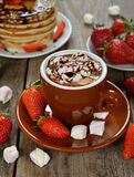 Hot chocolate with marshmallows and strawberries Royalty Free Stock Images