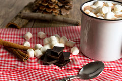 Hot chocolate. With marshmallows on a table stock image