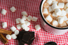 Hot chocolate. With marshmallows on a table stock images