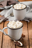 Hot chocolate with marshmallows in two enamel mugs Stock Images