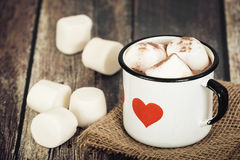 Hot Chocolate and Marshmallows in vintage enamel cup Stock Photos