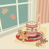 Hot Chocolate With Marshmallows at the Windows vector illustration