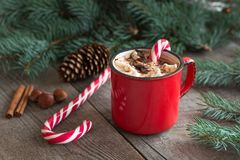 Hot chocolate with marshmallows on the wooden background fir-tree. Christmas tree with candy cane and mug with coffee. Hot cocoa with marshmallows. New Year royalty free stock image