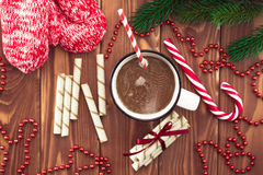 Hot chocolate with marshmallows on a wooden table Royalty Free Stock Photos