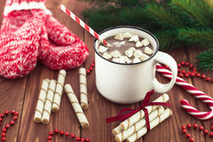 Hot chocolate with marshmallows on a wooden table Royalty Free Stock Photo