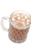 Hot Chocolate with marshmellows. Mug of hot chocolate with mini marshmallows on top.White Background Royalty Free Stock Image