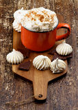 Hot Chocolate with Meringues Stock Images