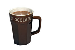 Hot chocolate milk. Cup hot chocolate milk with light background Royalty Free Stock Image