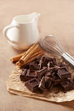 Hot chocolate with milk ingredients Stock Photos