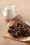 Hot chocolate with milk ingredients Stock Images