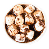 Hot chocolate with mini marshmallow  and cinnamon in a white cup Stock Photography