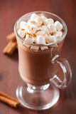Hot chocolate with mini marshmallows cinnamon winter drink Stock Image
