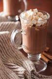 Hot chocolate with mini marshmallows cinnamon winter drink Stock Photos