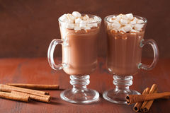 Hot chocolate with mini marshmallows cinnamon winter drink Stock Image