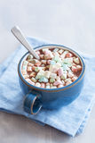 Hot chocolate with mini marshmallows warming drink stock image