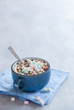 Hot chocolate with mini marshmallows warming drink stock images