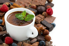 hot chocolate with mint in a cup and ingredients, isolated Royalty Free Stock Photography