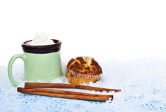 Hot chocolate with a muffin Stock Photos