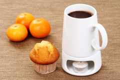 Hot chocolate and muffin Royalty Free Stock Photo