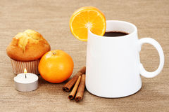 Hot chocolate and muffin Stock Photos