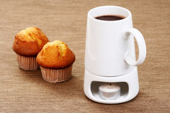 Hot chocolate and muffins Stock Photo