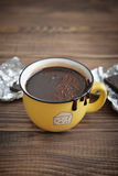 Hot chocolate in mug Stock Photos
