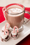 Hot Chocolate in a Mug with Marshmallow and Candy Cane Christmas. Hot chocolate mug with candy cane marshmallows Royalty Free Stock Photo