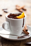 Hot chocolate with orange and cinnamon Royalty Free Stock Photography
