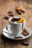Hot chocolate with orange and cinnamon Stock Images