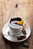 Hot chocolate with orange and cinnamon Royalty Free Stock Photos